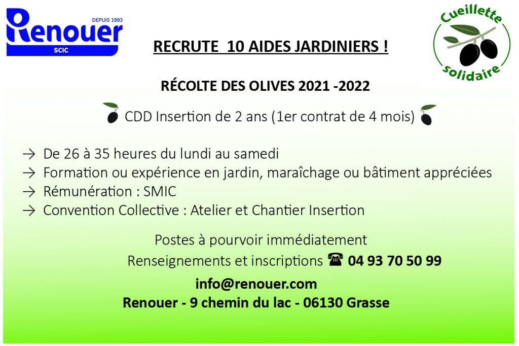 Annonce recrutement aides jardiniers 2021